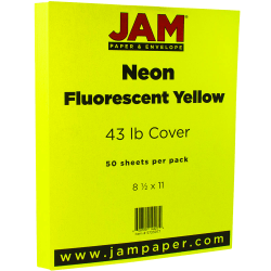 """JAM Paper® Cover Card Stock, 8 1/2"""" x 11"""", 43 Lb, Neon Yellow, Pack Of 50 Sheets"""
