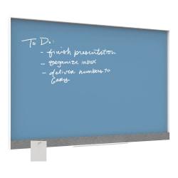 """U Brands Dry-Erase Board, Glass, 36"""" x 24"""", Blue Board, White Aluminum Frame"""