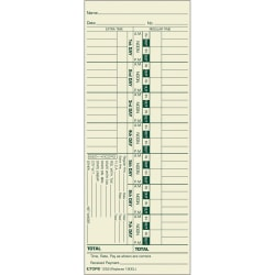 "TOPS® Time Cards (Replaces Original Card 1900L), Numbered Days, 1-Sided, 9"" x 3 1/2"", Box Of 500"