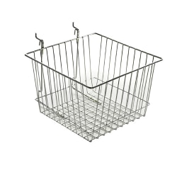 """Azar Displays Chrome Wire Baskets, 8""""H x 12""""W x 12""""D, Silver, Pack Of 2"""