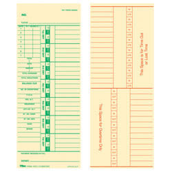 """TOPS® Time Cards (Replaces Original Card 10-800762), Numbered Days, 2-Sided, 9"""" x 3 1/2"""", Box Of 500"""
