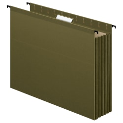 "Pendaflex® SureHook Extra-Capacity Hanging Pockets, 3 1/2"" Expansion, Letter-Size, Standard Green, Pack Of 4"