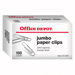 Office Depot® Brand Paper Clips, Jumbo, Silver, Box Of 100