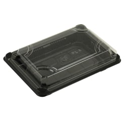 "Stalk Market Compostable Food Trays, With Lids, 16"" x 8"", Clear, Pack Of 300 Trays"