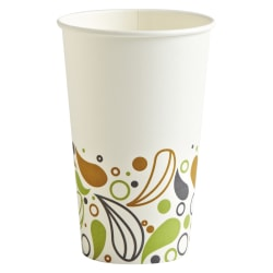 Boardwalk® Deerfield Printed Paper Hot Cups, 16 Oz, Multicolor, 50 Cups Per Pack, Carton of 20 Packs