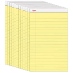 """Office Depot® Brand Perforated Legal Pads, 8 1/2"""" x 14"""", Legal Ruled, 50 Sheets, Canary, Pack Of 12 Pads"""