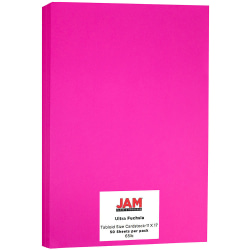 "JAM Paper® Cover Card Stock, 11"" x 17"", 65 Lb, 30% Recycled, Fuchsia, Pack Of 50 Sheets"