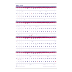 "AT-A-GLANCE® Yearly Wall Calendar, 24"" x 36"", Blue/Red/White, January To December 2021, PM1228"