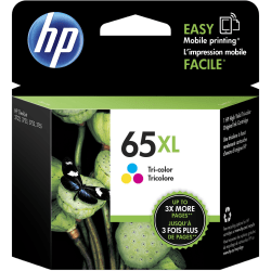 HP 65XL High Yield Original Ink Cartridge, Tri-Color (N9K03AN)