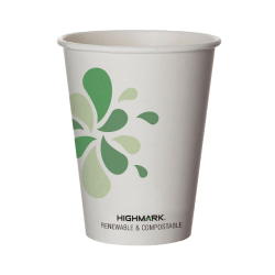 Highmark® Compostable Hot Coffee Cups, 12 Oz, White, Pack Of 50