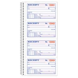 """Adams® Carbonless 2-Part Spiral Money/Rent Receipt Book, 11"""" x 5 1/4"""", Book Of 200 Sets"""