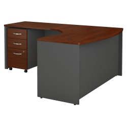 "Bush Business Furniture Components 60""W x 43""D Bow Front L Shaped Desk With 36""W Return And 3 Drawer Mobile File Cabinet, Left Handed, Hansen Cherry, Standard Delivery"
