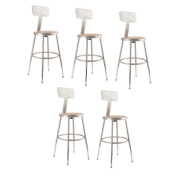 "National Public Seating Adjustable Hardboard Stools With Backs, 19""-27""H, Gray, Set of 5"