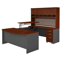 "Bush Business Furniture Components 72""W 3 Position Sit to Stand Bow Front U Shaped Desk with Hutch and Mobile File Cabinet, Hansen Cherry/Graphite Gray, Standard Delivery"