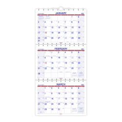 """AT-A-GLANCE® Move-A-Page 15-Month 3-Month Wall Calendar, 12"""" x 27"""", December 2020 To February 2022, PMLF1128"""