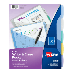"""Avery® Write & Erase Plastic Dividers With Pocket, 8 1/2"""" x 11"""", Multicolor, 5-Tab Set"""