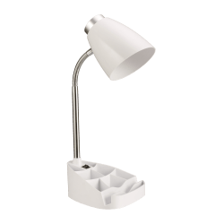 "LimeLights Gooseneck Organizer Desk Lamp, 17 1/4""H, White Shade/White Base"