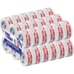 "Tape Logic® Pre-Printed Carton Sealing Tape, ""Packing List Enclosed"", 2"" x 110 Yd., Red/White, Case Of 36"