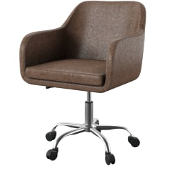 Linon Home Decor Products Ryker Fabric Mid-Back Home Office Chair, Rustic Brown/Silver