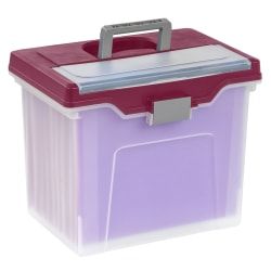 "Office Depot® Brand Mobile File Box, Large, Letter Size, 11 5/8""H x 13 3/6""W x 10""D, Clear/Burgundy"
