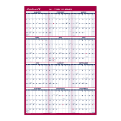"AT-A-GLANCE® Vertical/Horizontal Erasable Wall Calendar, 24"" x 36"", January to December, PM2628"