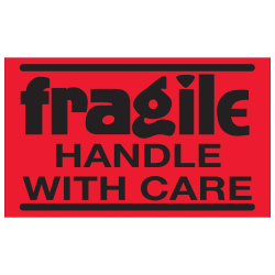 """Tape Logic® Preprinted Shipping Labels, DL1071, Fragile — Handle With Care, Rectangle, 3"""" x 5"""", Fluorescent Red, Roll Of 500"""