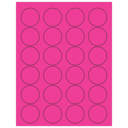 "Office Depot® Brand Labels, LL193PK, Circle, 1 5/8"", Fluorescent Pink, Case Of 2,400"