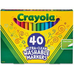 Crayola 40 Ultra-Clean Fine Line Washable Markers - Assorted - 40 / Set
