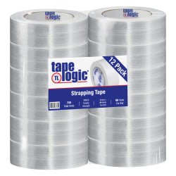 "Tape Logic® 1300 Strapping Tape, 2"" x 60 Yd., Clear, Case Of 12"