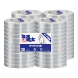 """Tape Logic 1400 Strapping Tape, 0.75"""" x 60 Yd, Clear, Pack Of 48 Rolls"""