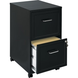 "Lorell® SOHO 18""D Vertical 2-Drawer Mobile File Cabinet, Black"