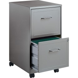 "Lorell® SOHO 18""D Vertical 2-Drawer Mobile File Cabinet, Light Gray"