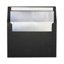 """LUX Foil-Lined Invitation Envelopes With Peel & Press Closure, A4, 4 1/4"""" x 6 1/4"""", Black/Silver, Pack Of 250"""