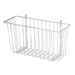 """Honey-Can-Do Wire Shelf Accessory Basket, 13 3/8""""L x 5""""W x 7 5/8""""H, Chrome"""