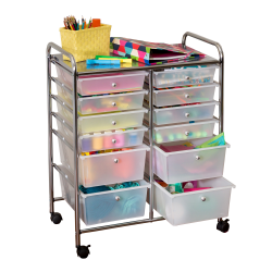 "Honey-can-do CRT-01683 12-Drawer Studio Organizer Cart, Chrome - 12 Drawer - 56.22 lb Capacity - Plastic - 25.3"" Length x 15.3"" Width x 31.8"" Height - Chrome Frame"