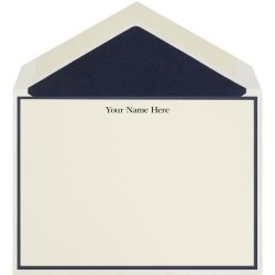 """The Occasions Group Stationery Note Cards, 4 1/2"""" x 6 1/4""""W, Folded, Midnight Border, Ecru Matte, Box Of 25"""