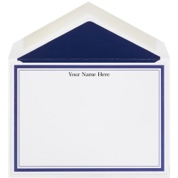 """The Occasions Group Stationery Note Cards, 4 1/2"""" x 6 1/4""""W, Flat, Midnight Double Border, White Matte, Box Of 25"""