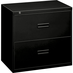 "HON® 18""W Lateral 2-Drawer File Cabinet, Metal, Black"