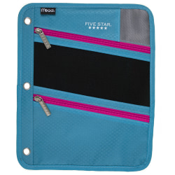 Five Star® Zipper Three-Hole Punched Pencil Pouch, Assorted Colors
