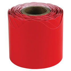 "Carson-Dellosa Plain Continuous-roll Scalloped Border - Fun Theme/Subject - 36 (Scalloped Border) Shape - 2.25"" Width x 432"" Length - Red - 1 Roll"