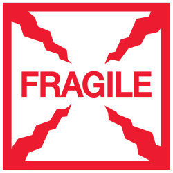 """Tape Logic® Preprinted Shipping Labels, DL1316, Fragile, Square, 2"""" x 2"""", Red/White, Roll Of 500"""