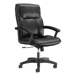 HON® Bonded Leather Padded Loop Arm Executive Chair, Black
