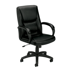 basyx by HON® VL161 Executive Bonded Leather Mid-Back Chair, Black