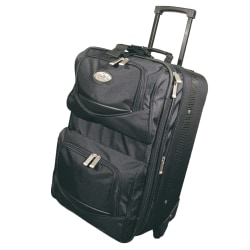 """Overland Geoffrey Beene Polyester Expandable Upright Rolling Carry-On Suitcase, 20""""H x 18""""W x 15""""D, Black"""