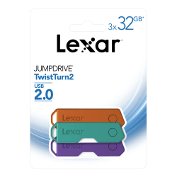 Lexar® JumpDrive® TwistTurn2 USB 2.0 Flash Drives, 32GB, Pack Of 3 Flash Drives, LJDTT2-32GABNA3