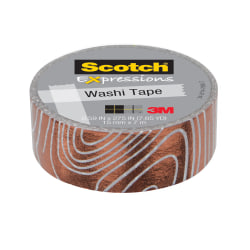 "Scotch® Expressions Washi Tape, 3/5"" x 275"", White/Copper"