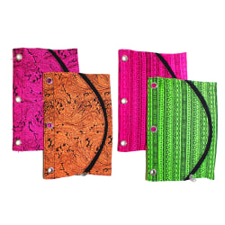 """Inkology Tribal Binder Pencil Pouches, 10"""" x 7"""", Assorted Colors, Pack Of 6 Pouches"""