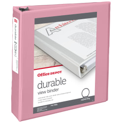 """Office Depot® Brand Durable View 3-Ring Binder, 2"""" Round Rings, 49% Recycled, Pink"""