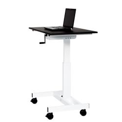 Luxor Single Column Crank Adjustable Stand Up Desk, Black/Silver