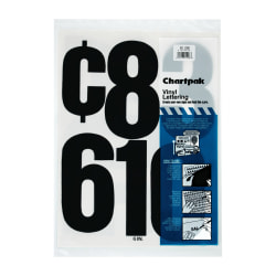 "Chartpak Press-On Vinyl Numbers, 6"", Black, Pack Of 21"